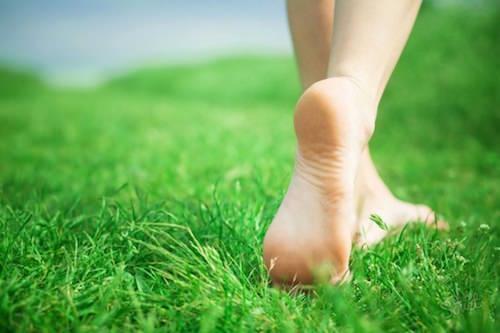 пятка на траве